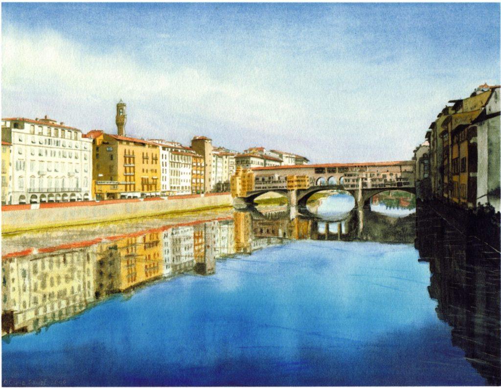 """""""Firenze - Ponte Vecchio from Ponte Santa Trinita"""" by Carie Sauzé 2"""