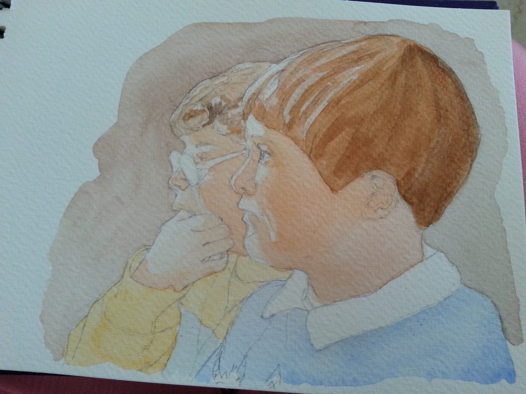 """ 'CS & AS' Watching TV - watercolour sketch stage 3 first overall wash"" by Carie Sauzé"