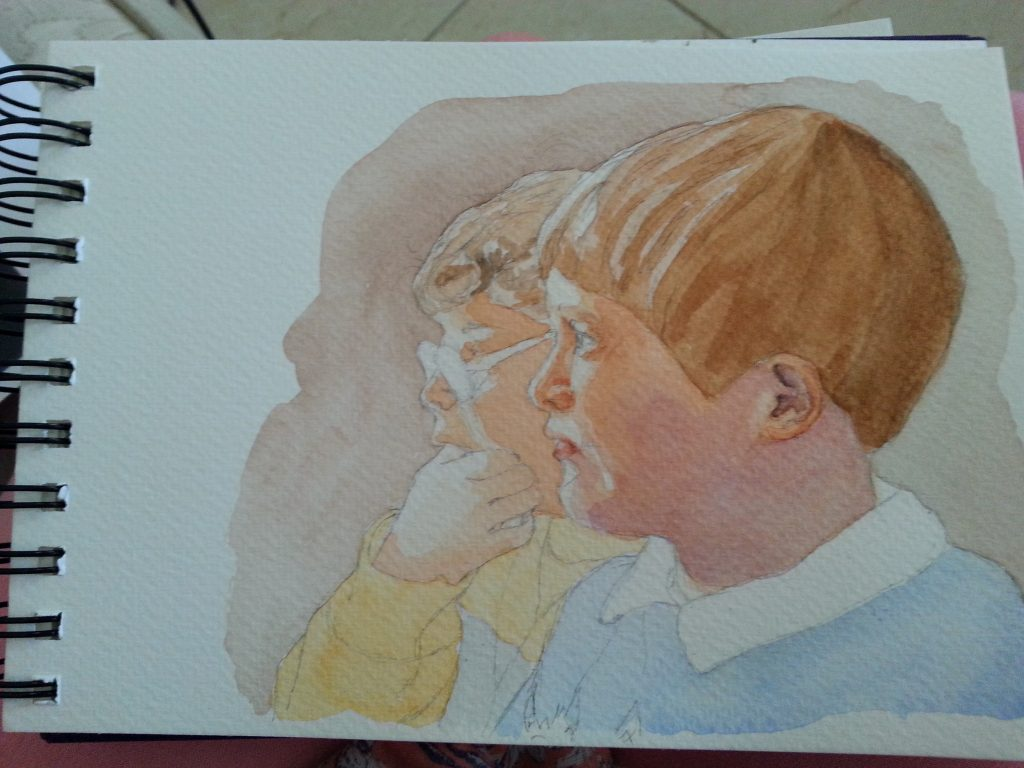 """ 'CS & AS' Watching TV - watercolour sketch stage 4 second wash"" by Carie Sauzé"