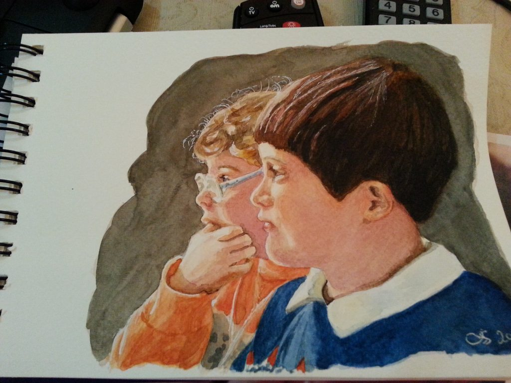 """ 'CS & AS' Watching TV - watercolour finished sketch stage 5"" by Carie Sauzé"