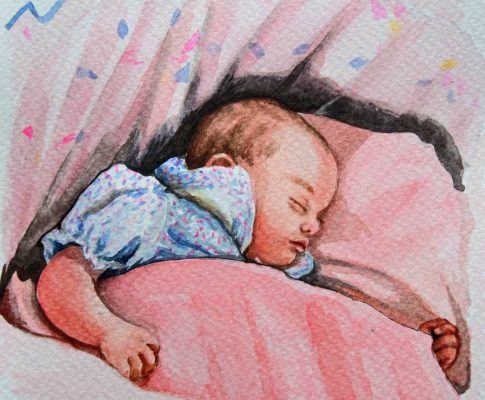 No. 25  Sleeping Child 3 – Time Lapse Watercolour Sketch