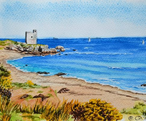No. 26  The Salt Tower, Casares Beach – Time Lapse Watercolour Sketch