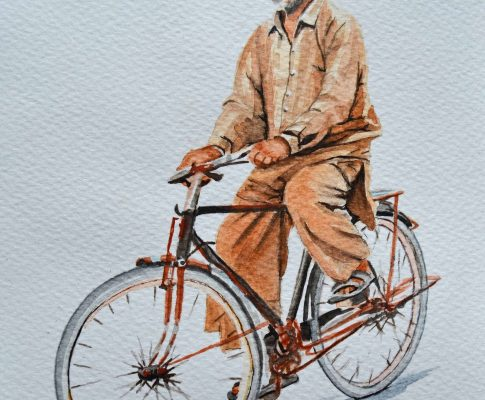 No. 28  Man on a Bike – Time Lapse Watercolour Sketch