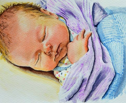 No. 31  Sleeping Child 4 (New baby Grandson!) – Time Lapse Watercolour Sketch