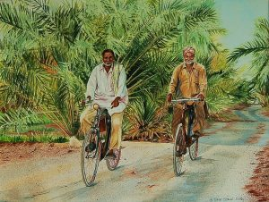 """Bike Ride through the Date Palm Grove"" by Carie Sauzé"