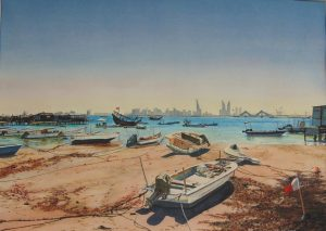 """Boats at Low Tide - Muharraq"" by Carie Sauzé"