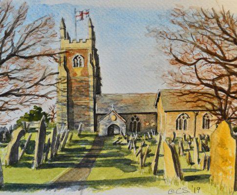 "No. 9 Time Lapse Sketch ""Winter Sun – Church"""