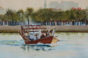 """Evening LIght - Fishing dhow leaving harbour"" by Carie Sauzé"