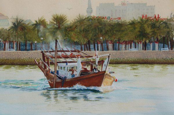 """Evening LIght - Fishing dhow leaving harbour"" by Carie Sauzé"