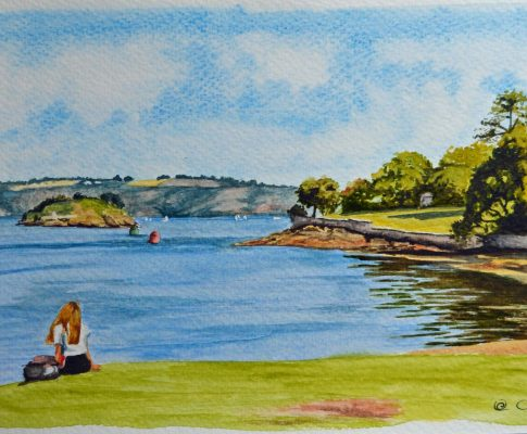 No. 34 Waiting for the Ferry (Plymouth Sound from Cremyl) – Watercolour Time Lapse Sketch