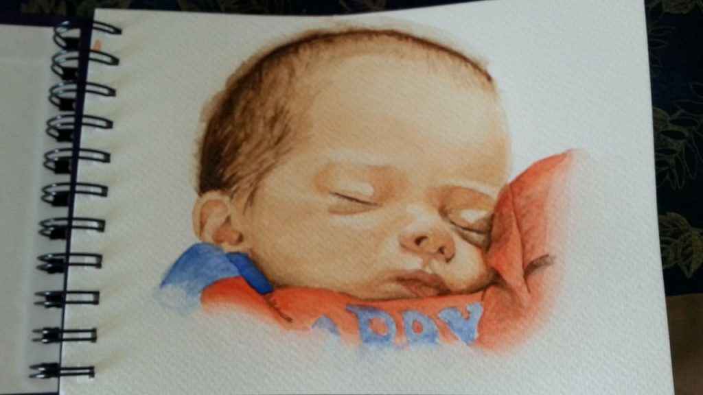 """Grandson ""AS"" Sleeping 2 - watercolor sketch"" by Carie Sauzé"