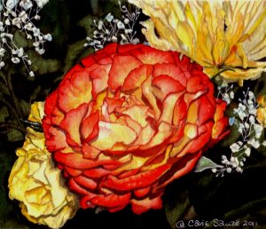 """Orange and Yellow Rose #1"" by Carie Sauzé"