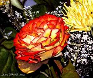 """Orange and Yellow Rose #2"" by Carie Sauzé"