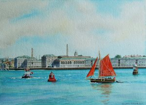 """Sailing Past - Plymouth Victualling Yard"" by Carie Sauzé"