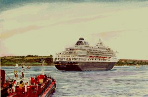 """Sailing away - MS Prinsendam leaves Falmouth"" by Carie Sauzé"