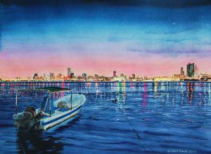 """Twilight - Manama Skyline"" by Carie Sauzé"