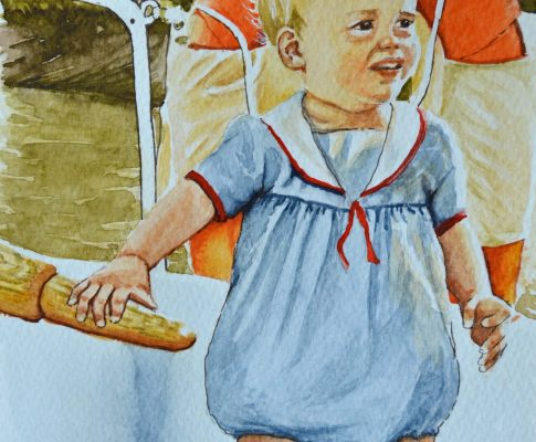 No. 39 A Very Young Helmsman – Watercolour Time Lapse Sketch