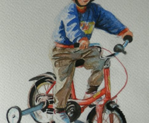 No. 6 Time Lapse Watercolour Sketch of a Child on a Bike